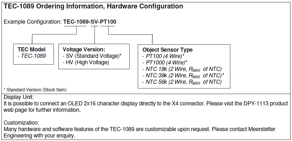 TEC-1089 Ordering Information Hardware Configuration