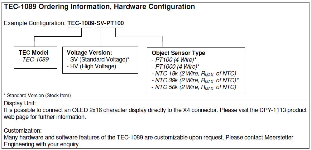 TEC-1089 Ordering Information Hardware Configuration