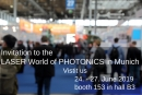 Invitation to the LASER World of PHOTONICS in Munich